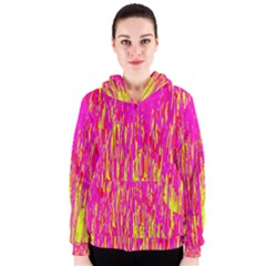 Pink And Yellow Pattern Women s Zipper Hoodie by Valentinaart
