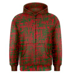 Green And Red Pattern Men s Zipper Hoodie by Valentinaart