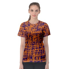 Blue And Orange Decorative Pattern Women s Sport Mesh Tee by Valentinaart