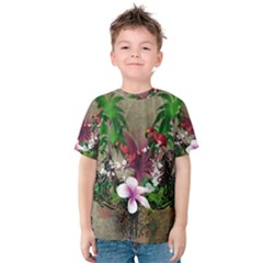 Wonderful Tropical Design With Palm And Flamingo Kid s Cotton Tee
