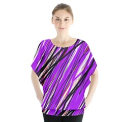 Purple Pattern Batwing Chiffon Blouse by Valentinaart