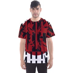Red, Black And White Decorative Abstraction Men s Sport Mesh Tee by Valentinaart