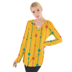 Yellow, Green And Red Pattern Women s Tie Up Tee by Valentinaart