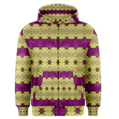 Purple Gold Floral And Paradise Bloom Men s Zipper Hoodie