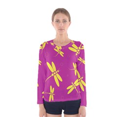 Purple And Yellow Dragonflies Pattern Women s Long Sleeve Tee by Valentinaart