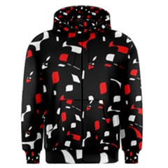 Red, Black And White Pattern Men s Zipper Hoodie by Valentinaart