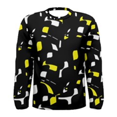 Yellow, Black And White Pattern Men s Long Sleeve Tee by Valentinaart