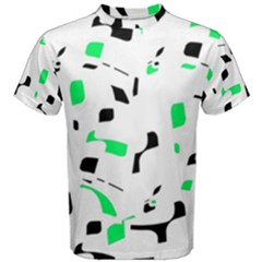 Green, Black And White Pattern Men s Cotton Tee by Valentinaart