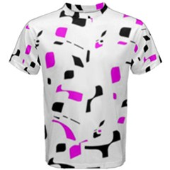 Magenta, Black And White Pattern Men s Cotton Tee by Valentinaart