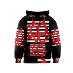 Red, Black And White Abstract Design Kids  Zipper Hoodie by Valentinaart