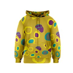 Yellow Abstraction Kids  Zipper Hoodie by Valentinaart