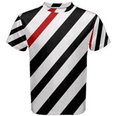 Red, Black And White Lines Men s Cotton Tee by Valentinaart