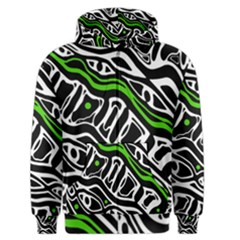 Green, Black And White Abstract Art Men s Zipper Hoodie by Valentinaart