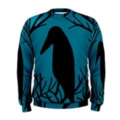 Halloween Raven   Blue Men s Sweatshirt by Valentinaart
