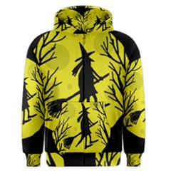Halloween Witch - Yellow Moon Men s Zipper Hoodie