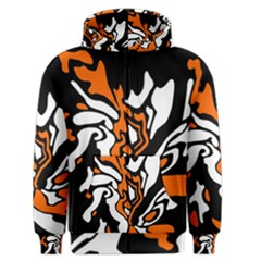 Orange, White And Black Decor Men s Zipper Hoodie by Valentinaart