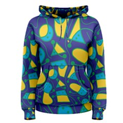 Playful Abstract Art   Blue And Yellow Women s Pullover Hoodie by Valentinaart