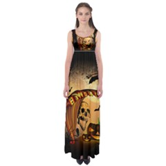 Halloween, Funny Pumpkin With Skull And Spider In The Night Empire Waist Maxi Dress by FantasyWorld7