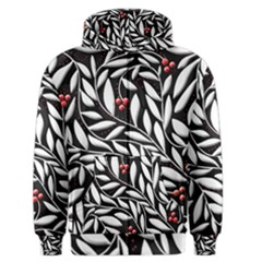 Black, Red, And White Floral Pattern Men s Zipper Hoodie by Valentinaart