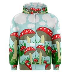 Mushrooms  Men s Zipper Hoodie by Valentinaart