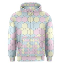 Colorful Honeycomb   Diamond Pattern Men s Zipper Hoodie by picsaspassion