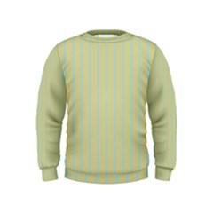 Summer Sand Color Blue Stripes Pattern Kids  Sweatshirt by picsaspassion