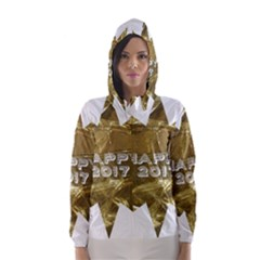 Happy New Year 2017 Gold White Star Hooded Wind Breaker (women) by yoursparklingshop