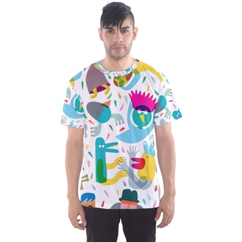Colorful Cartoon Funny People Men s Sport Mesh Tee by AnjaniArt