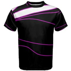 Purple, White And Black Lines Men s Cotton Tee by Valentinaart