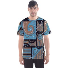 Blue And Brown Abstraction Men s Sport Mesh Tee by Valentinaart