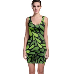 Free Green Nature Leaves Seamless Sleeveless Bodycon Dress by AnjaniArt