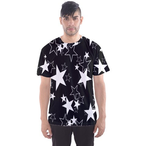 Star Black White Men s Sport Mesh Tee by AnjaniArt
