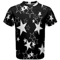 Star Black White Men s Cotton Tee by AnjaniArt