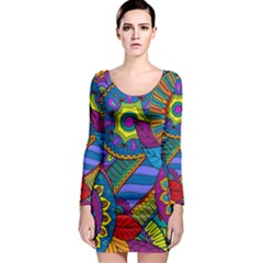 Pop Art Paisley Flowers Ornaments Multicolored Long Sleeve Bodycon Dress by EDDArt