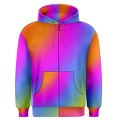 Radial Gradients Red Orange Pink Blue Green Men s Zipper Hoodie by EDDArt