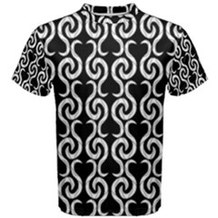 Black And White Pattern Men s Cotton Tee by Valentinaart
