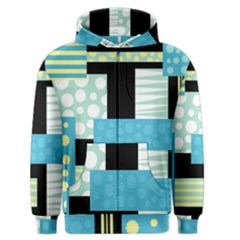 Blue Collage Men s Zipper Hoodie by Valentinaart