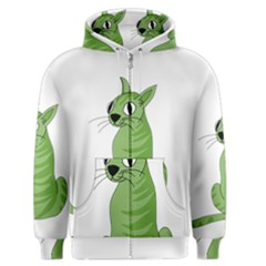 Green Cat Men s Zipper Hoodie by Valentinaart
