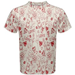 Heart Surface Kiss Flower Bear Love Valentine Day Men s Cotton Tee by AnjaniArt