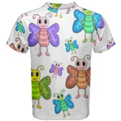 Colorful, Cartoon Style Butterflies Men s Cotton Tee by Valentinaart