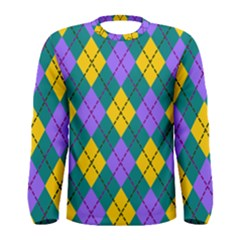 Texture Background Argyle Teal Men s Long Sleeve Tee