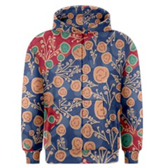 Floral Red Blue Flower Men s Zipper Hoodie