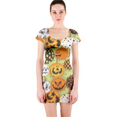 Print Halloween Short Sleeve Bodycon Dress by Jojostore