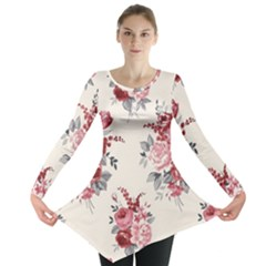 Rose Beauty Flora Long Sleeve Tunic  by Jojostore