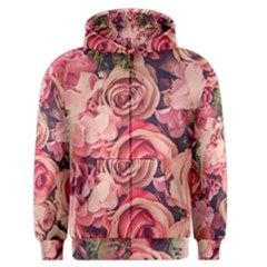 Beautiful Pink Roses  Men s Zipper Hoodie by Brittlevirginclothing