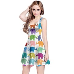 Colorful Small Elephants Reversible Sleeveless Dress by Brittlevirginclothing