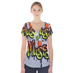 Graffiti Word Character Print Spray Can Element Player Music Notes Drippy Font Text Sample Grunge Ve Short Sleeve Front Detail Top by Foxymomma