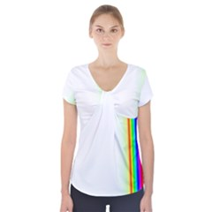 Rainbow Side Background Short Sleeve Front Detail Top by Nexatart