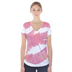 Pink Lips Short Sleeve Front Detail Top by Brittlevirginclothing