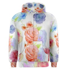 Watercolor Colorful Roses Men s Zipper Hoodie by Brittlevirginclothing